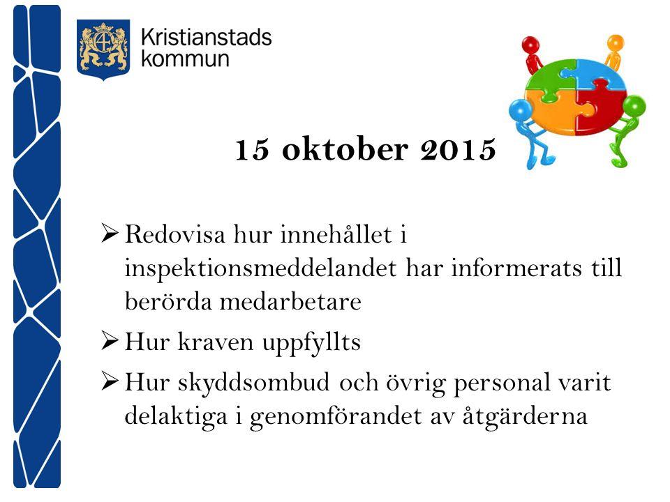 15 oktober 2015 Redovisa hur innehållet i inspektionsmeddelandet har informerats till berörda medarbetare.