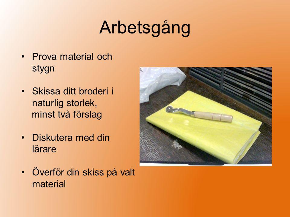 Arbetsgång Prova material och stygn