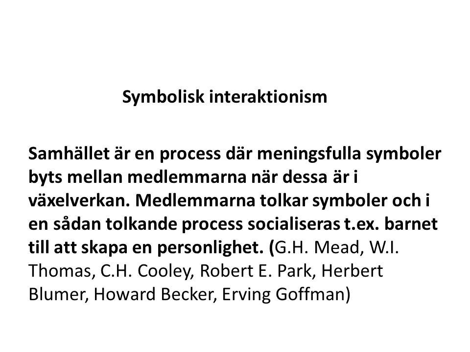 Symbolisk interaktionism Samhället är en process där meningsfulla symboler byts mellan medlemmarna när dessa är i växelverkan.