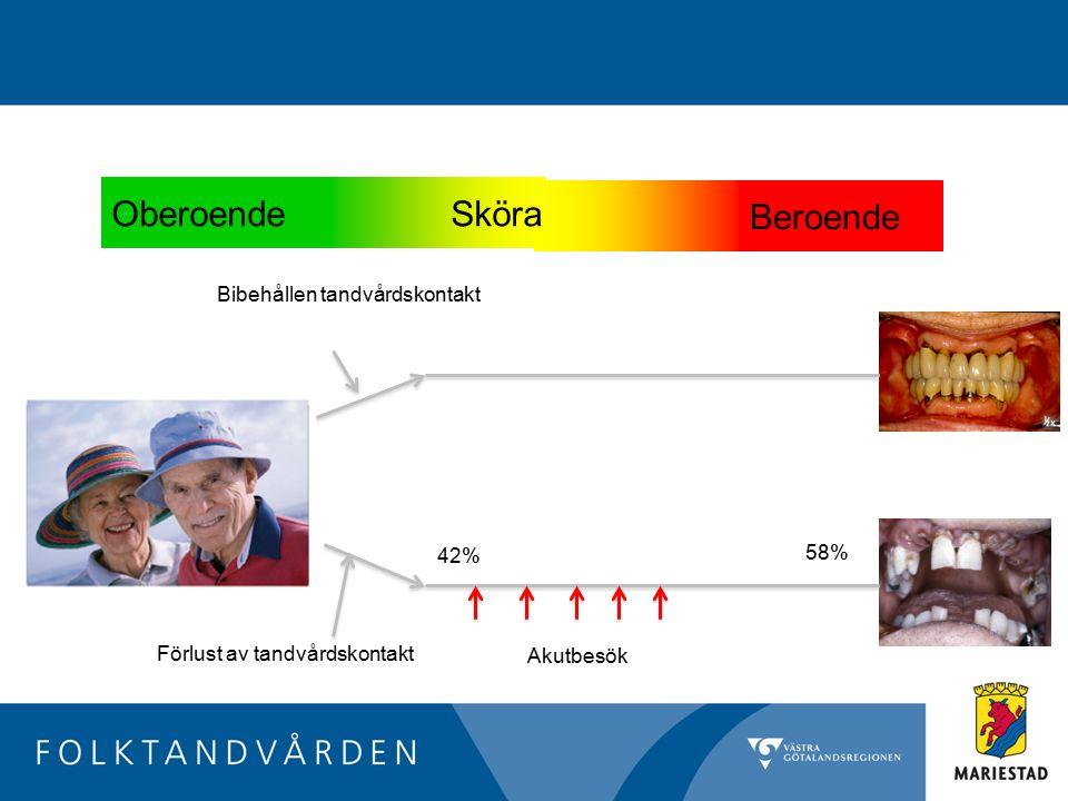 Oberoende Sköra Beroende Bibehållen tandvårdskontakt 58% 42%