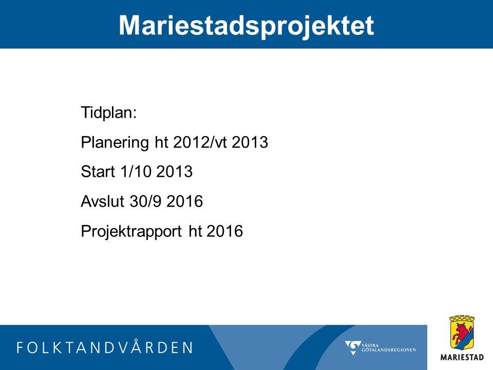 Mariestadsprojektet Tidplan: Planering ht 2012/vt 2013 Start 1/10 2013