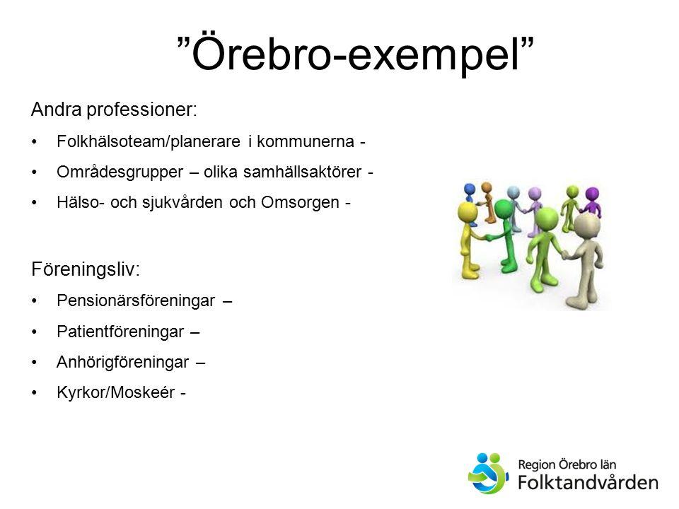 Örebro-exempel Andra professioner: Föreningsliv: