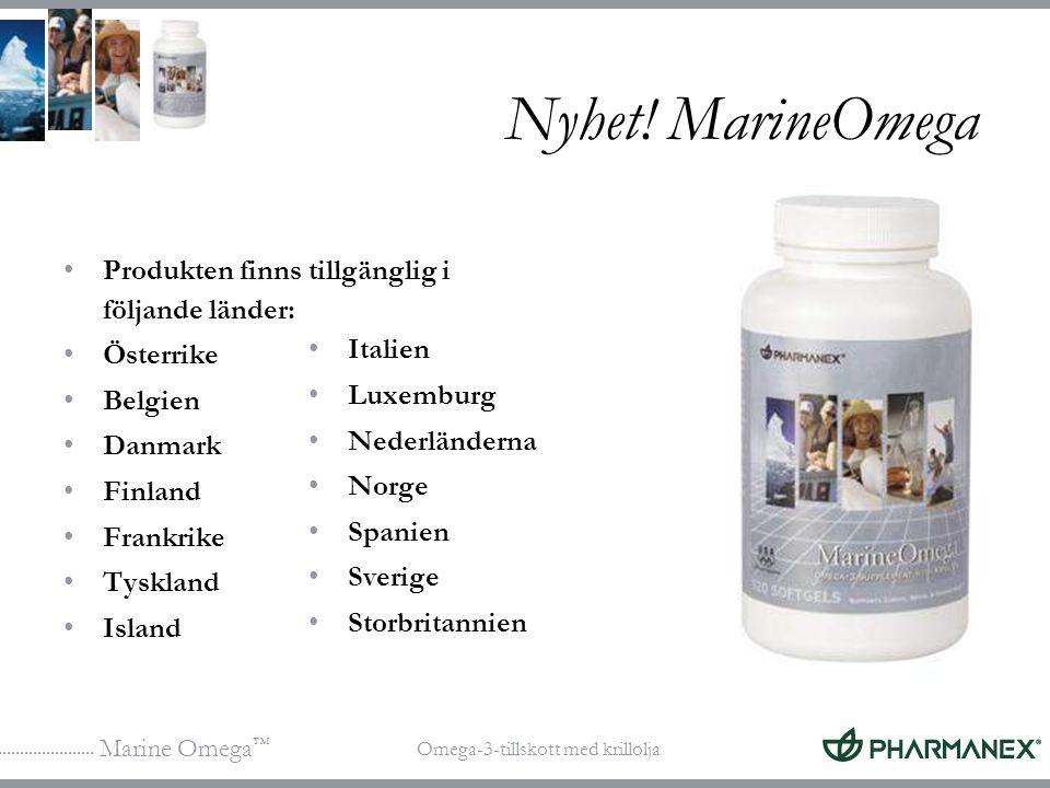Nyhet! MarineOmega Produkten finns tillgänglig i följande länder: