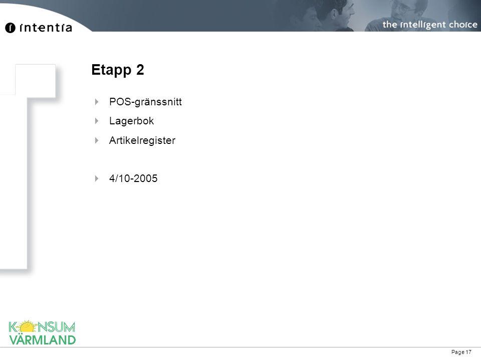 Etapp 2 POS-gränssnitt Lagerbok Artikelregister 4/10-2005