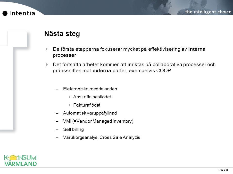 Nästa steg De första etapperna fokuserar mycket på effektivisering av interna processer.