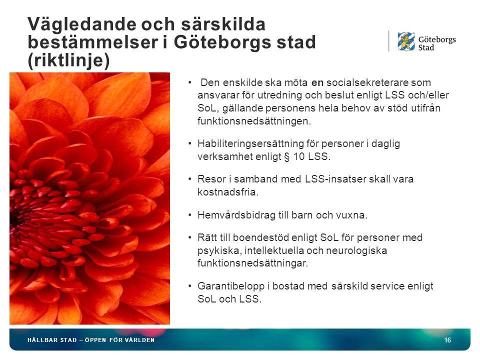 Vägledande och särskilda bestämmelser i Göteborgs stad (riktlinje)