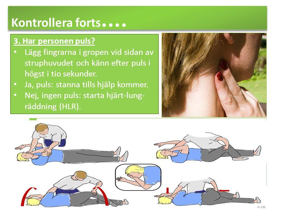 Kontrollera forts…. 3. Har personen puls