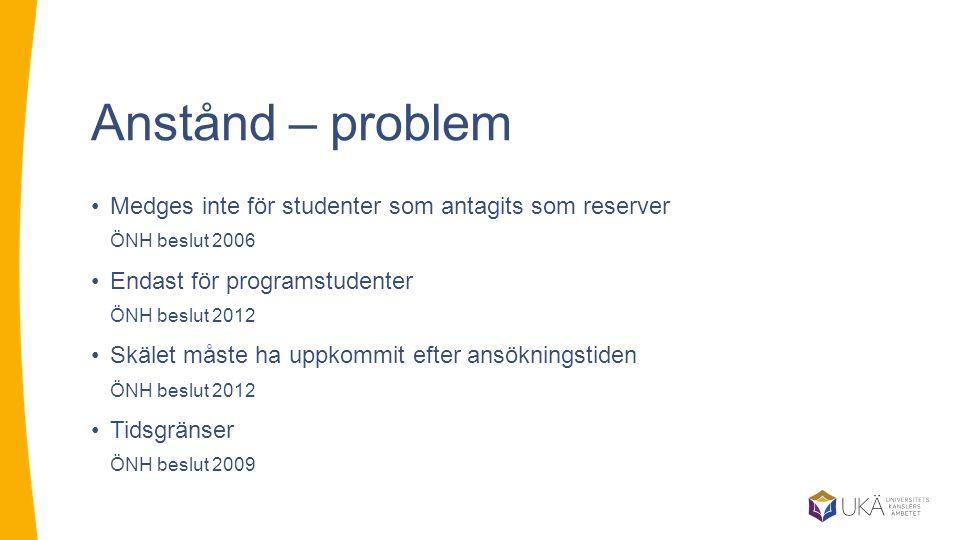 Anstånd – problem Medges inte för studenter som antagits som reserver ÖNH beslut 2006. Endast för programstudenter ÖNH beslut 2012.