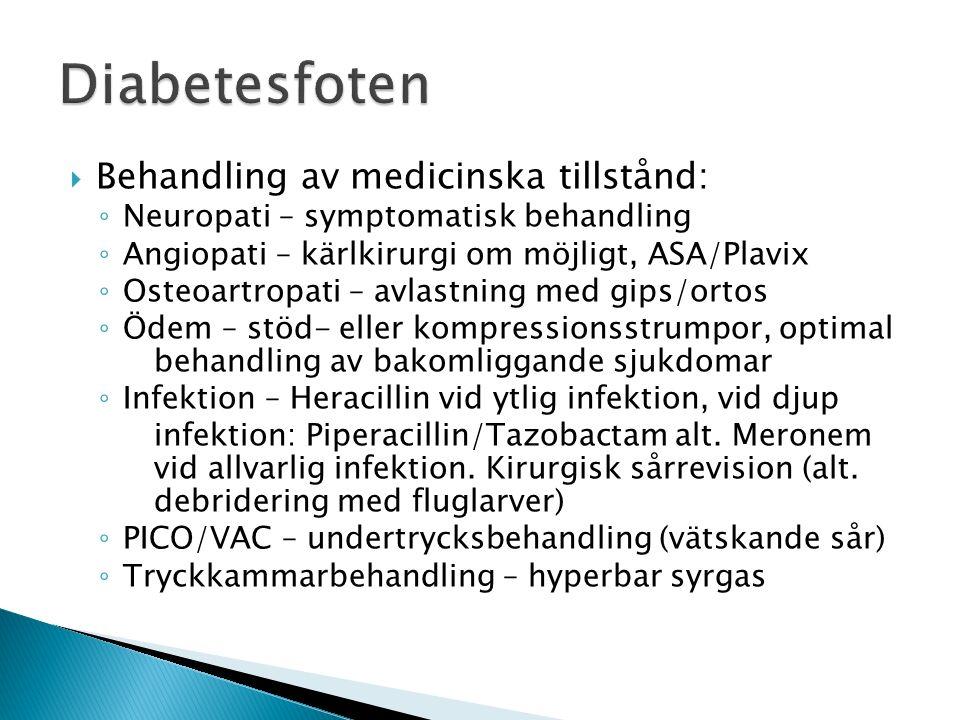 Diabetesfoten Behandling av medicinska tillstånd: