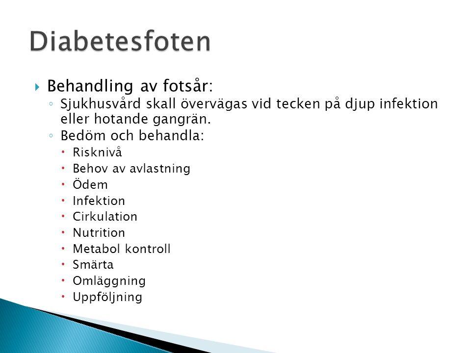 Diabetesfoten Behandling av fotsår: