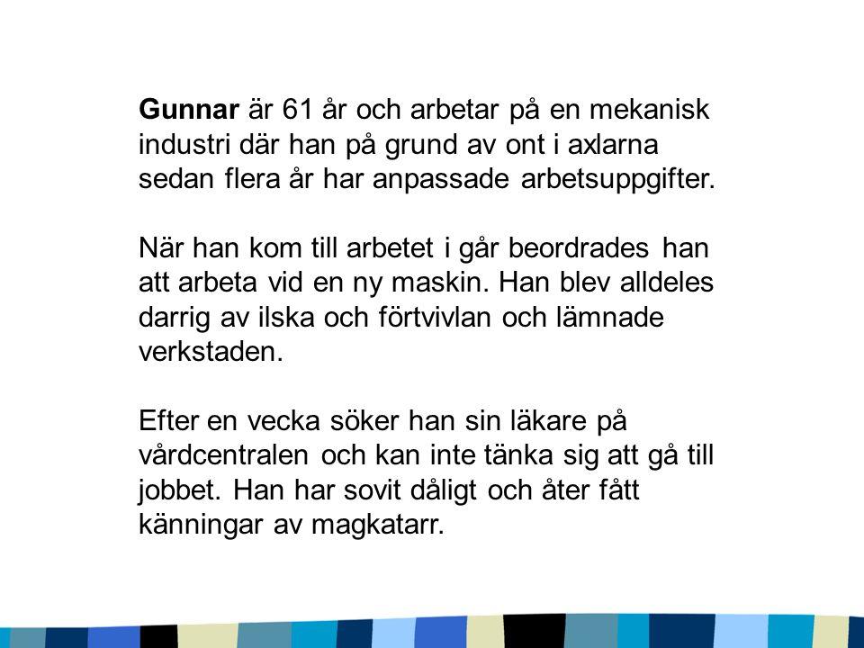 Gunnar är 61 år och arbetar på en mekanisk industri där han på grund av ont i axlarna sedan flera år har anpassade arbetsuppgifter.