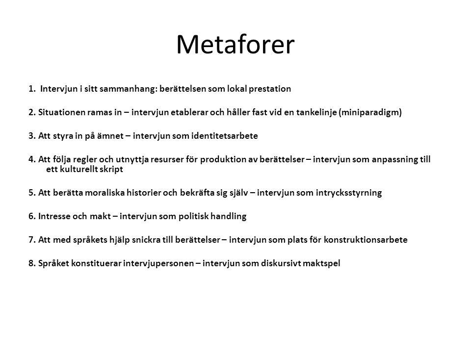 Metaforer 1. Intervjun i sitt sammanhang: berättelsen som lokal prestation.