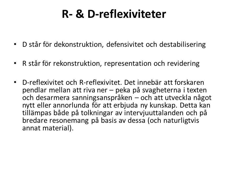 R- & D-reflexiviteter D står för dekonstruktion, defensivitet och destabilisering. R står för rekonstruktion, representation och revidering.