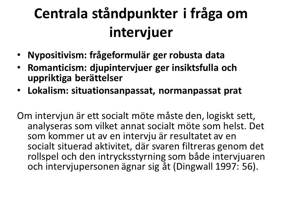 Centrala ståndpunkter i fråga om intervjuer