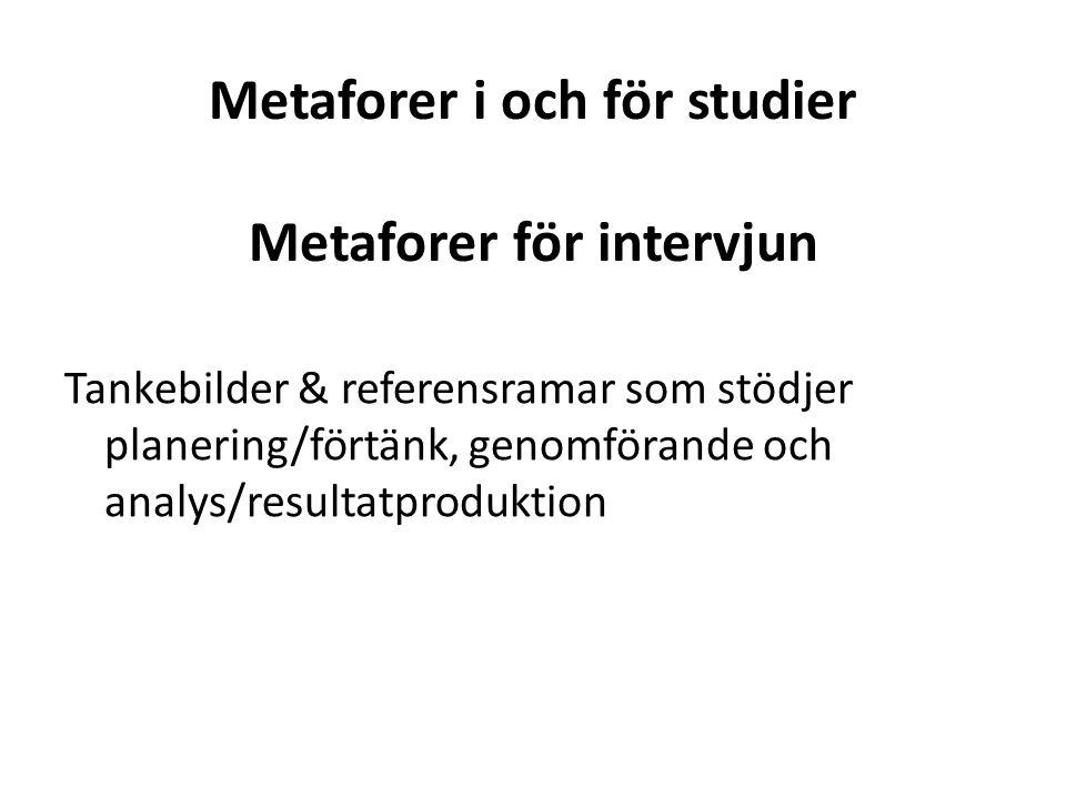 Metaforer i och för studier Metaforer för intervjun