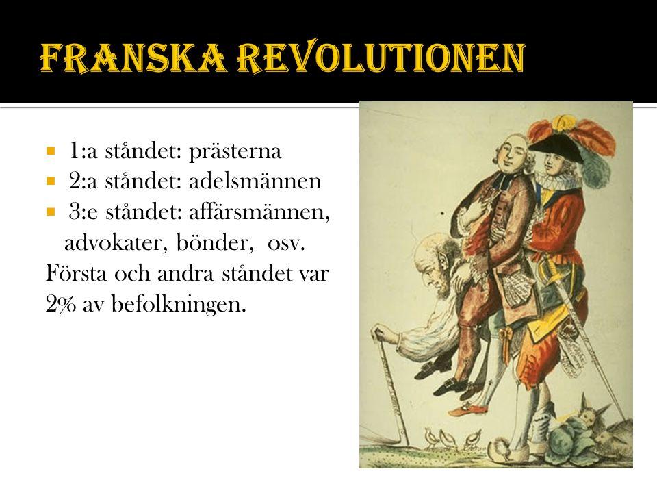 Franska revolutionen 1:a ståndet: prästerna 2:a ståndet: adelsmännen
