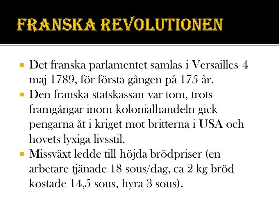 Franska revolutionen Det franska parlamentet samlas i Versailles 4 maj 1789, för första gången på 175 år.