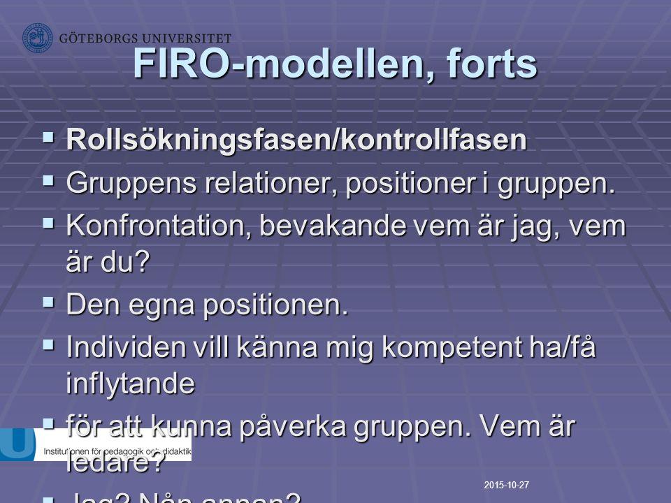 FIRO-modellen, forts Rollsökningsfasen/kontrollfasen