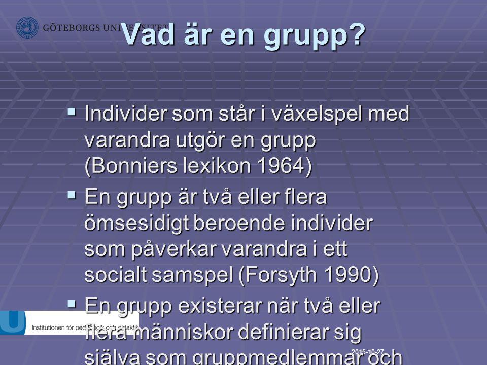 Vad är en grupp Individer som står i växelspel med varandra utgör en grupp (Bonniers lexikon 1964)