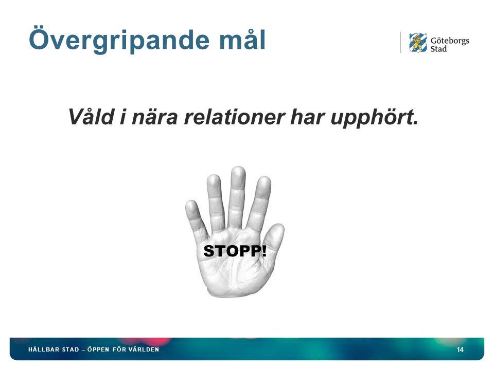 Övergripande mål Våld i nära relationer har upphört. Stoppbild