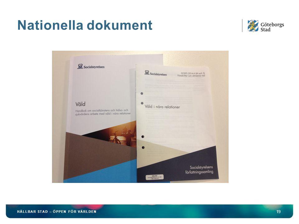 Nationella dokument HÅLLBAR STAD – ÖPPEN FÖR VÄRLDEN
