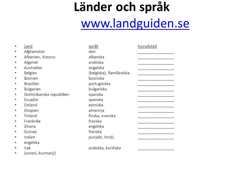Länder och språk www.landguiden.se