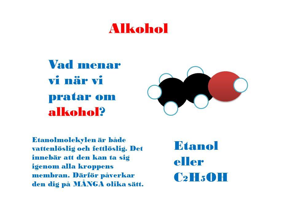 Alkohol Vad menar vi när vi pratar om alkohol Etanol eller C2H5OH