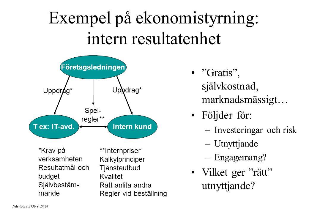 Exempel på ekonomistyrning: intern resultatenhet