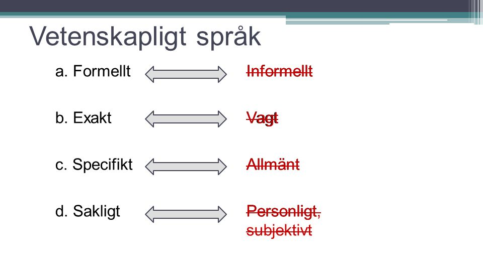 Vetenskapligt språk a. Formellt b. Exakt c. Specifikt d. Sakligt