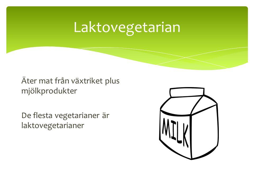 Laktovegetarian Äter mat från växtriket plus mjölkprodukter De flesta vegetarianer är laktovegetarianer