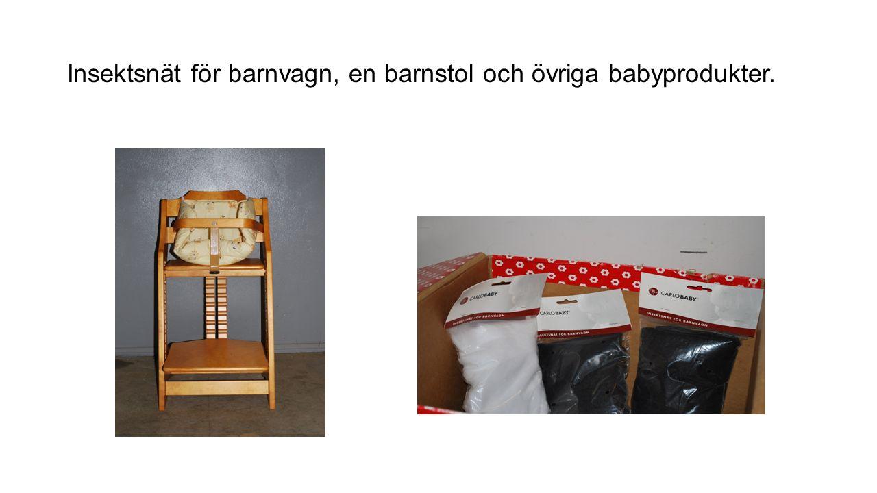 Insektsnät för barnvagn, en barnstol och övriga babyprodukter.