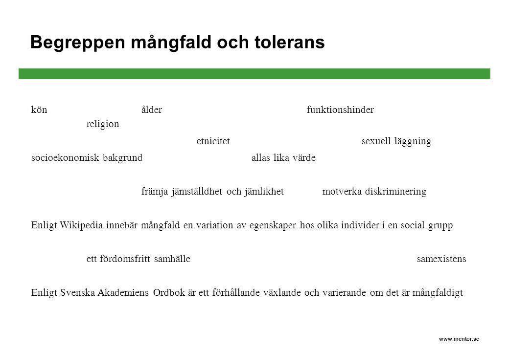 Begreppen mångfald och tolerans