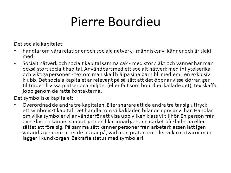 Pierre Bourdieu Det sociala kapitalet: