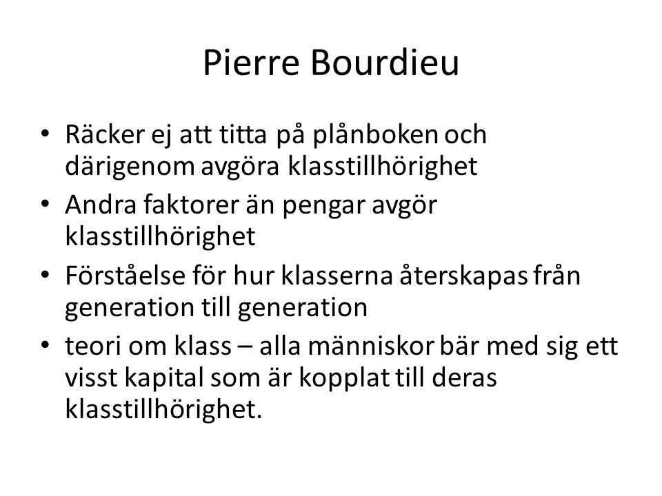 Pierre Bourdieu Räcker ej att titta på plånboken och därigenom avgöra klasstillhörighet. Andra faktorer än pengar avgör klasstillhörighet.