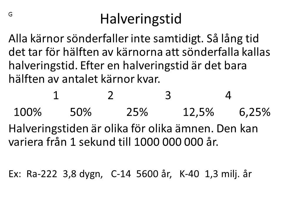 G Halveringstid.