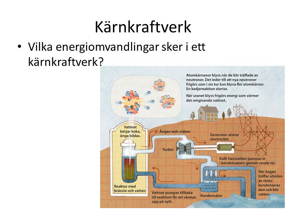 Kärnkraftverk Vilka energiomvandlingar sker i ett kärnkraftverk