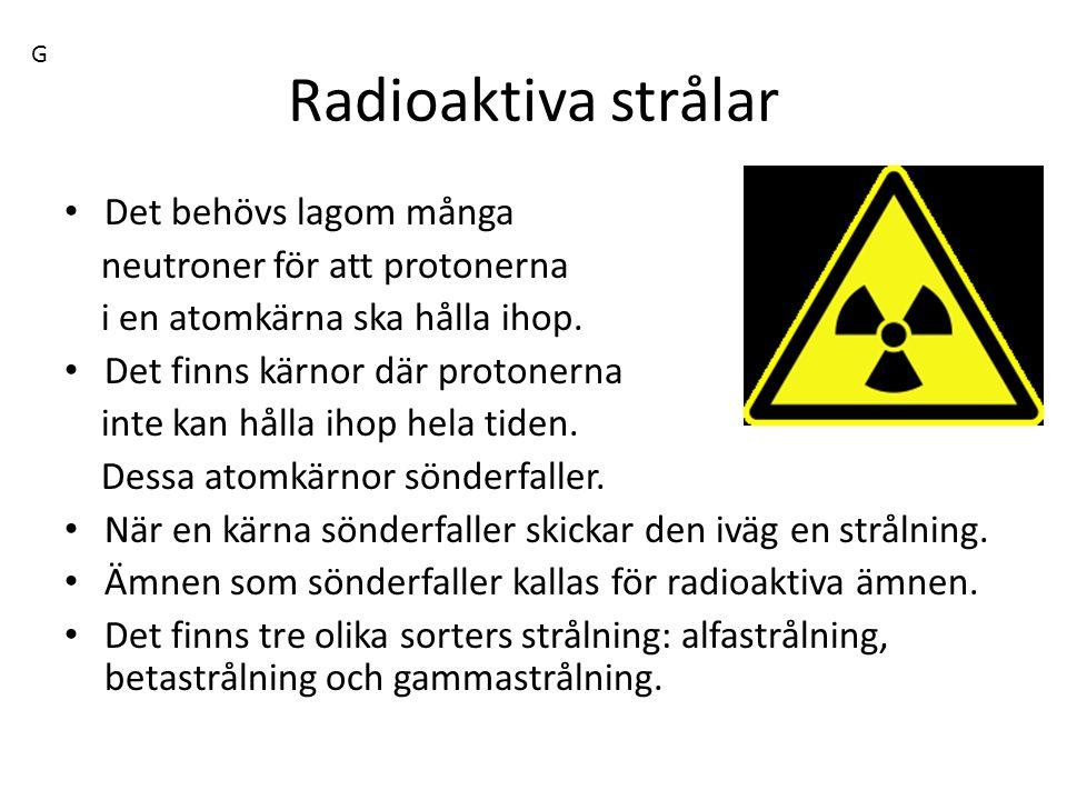 Radioaktiva strålar Det behövs lagom många