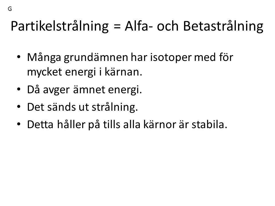 Partikelstrålning = Alfa- och Betastrålning