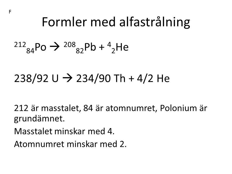 Formler med alfastrålning