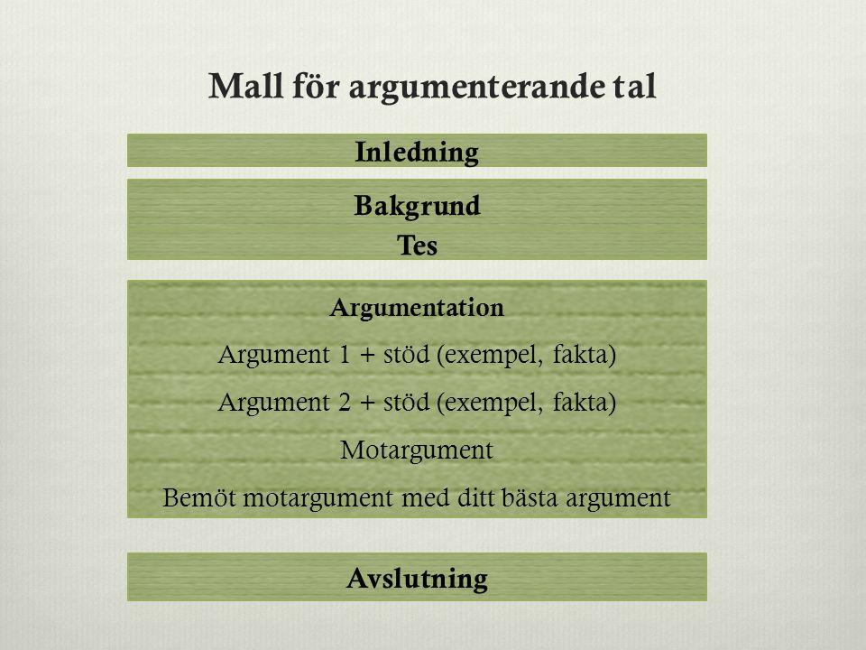 Mall för argumenterande tal