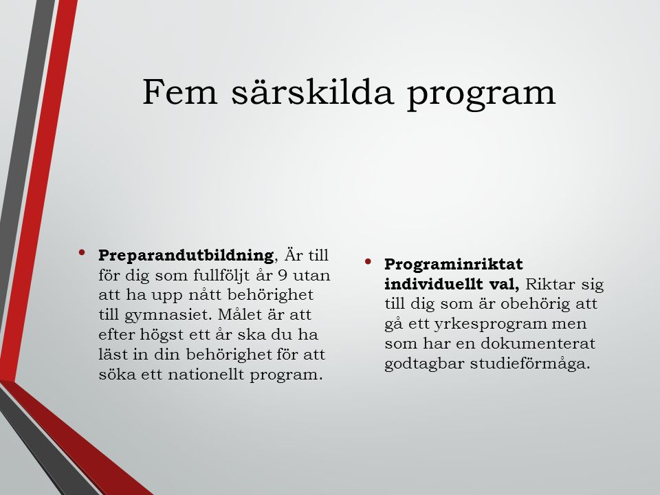 Fem särskilda program