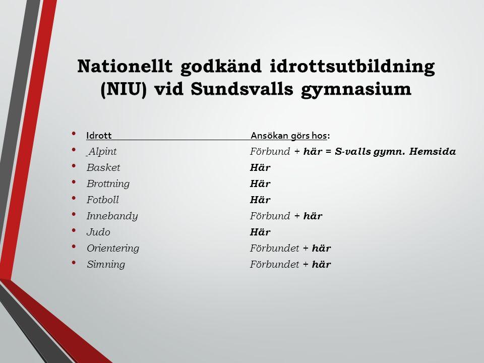Nationellt godkänd idrottsutbildning (NIU) vid Sundsvalls gymnasium