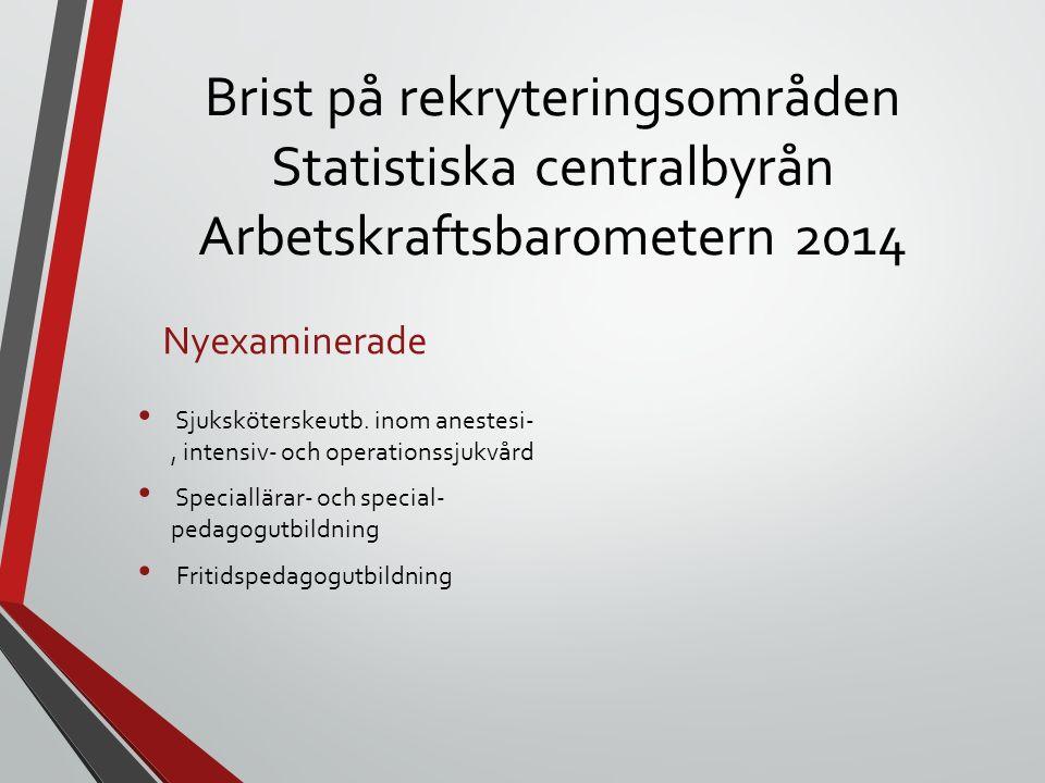 Brist på rekryteringsområden Statistiska centralbyrån Arbetskraftsbarometern 2014