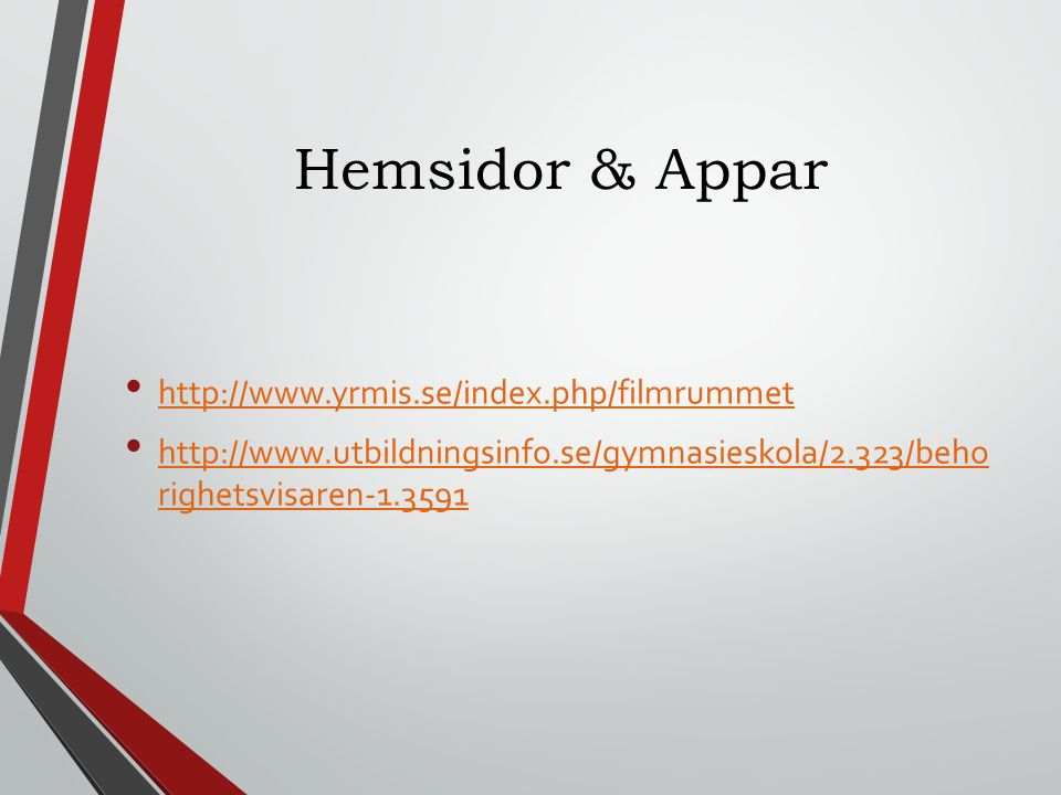 Hemsidor & Appar http://www.yrmis.se/index.php/filmrummet