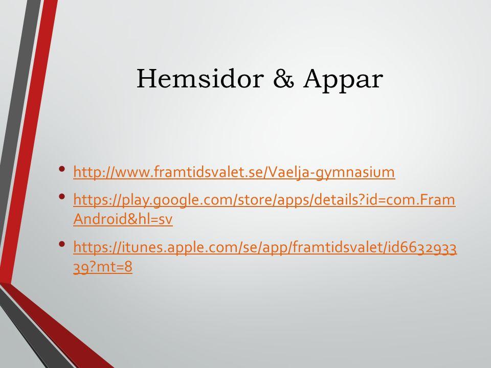 Hemsidor & Appar http://www.framtidsvalet.se/Vaelja-gymnasium