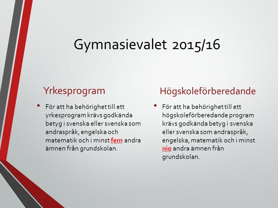 Gymnasievalet 2015/16 Yrkesprogram Högskoleförberedande