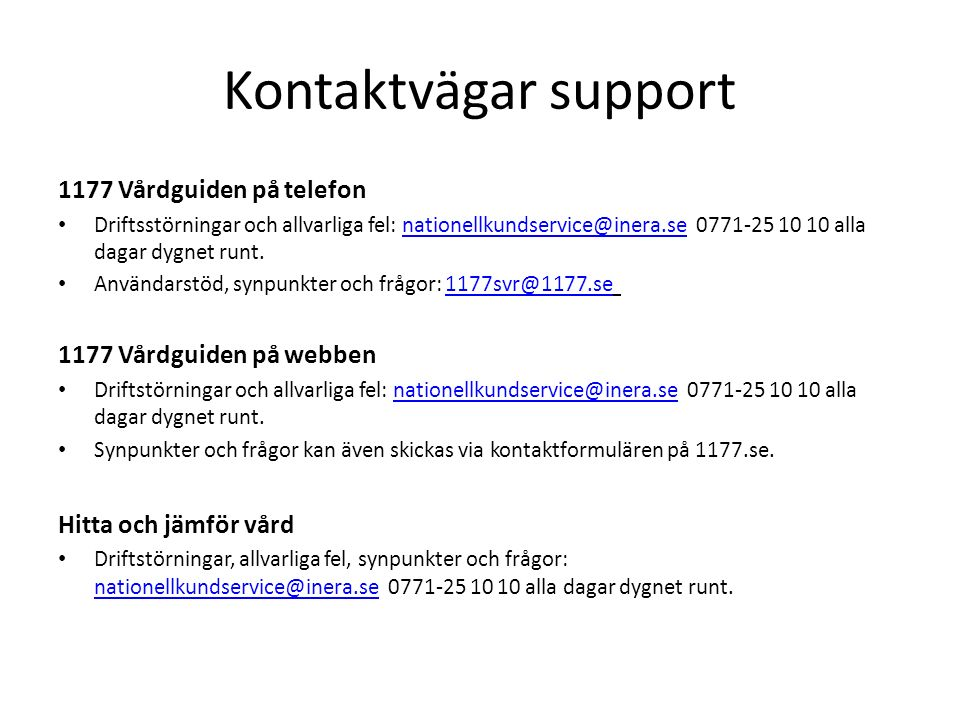 Kontaktvägar support 1177 Vårdguiden på telefon