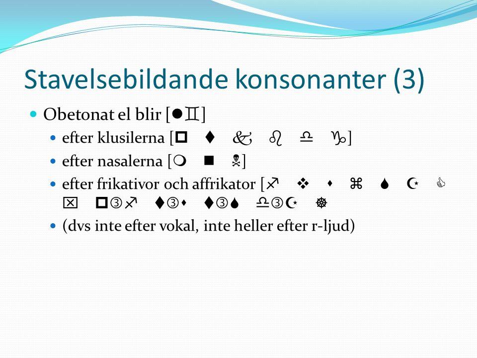 Stavelsebildande konsonanter (3)