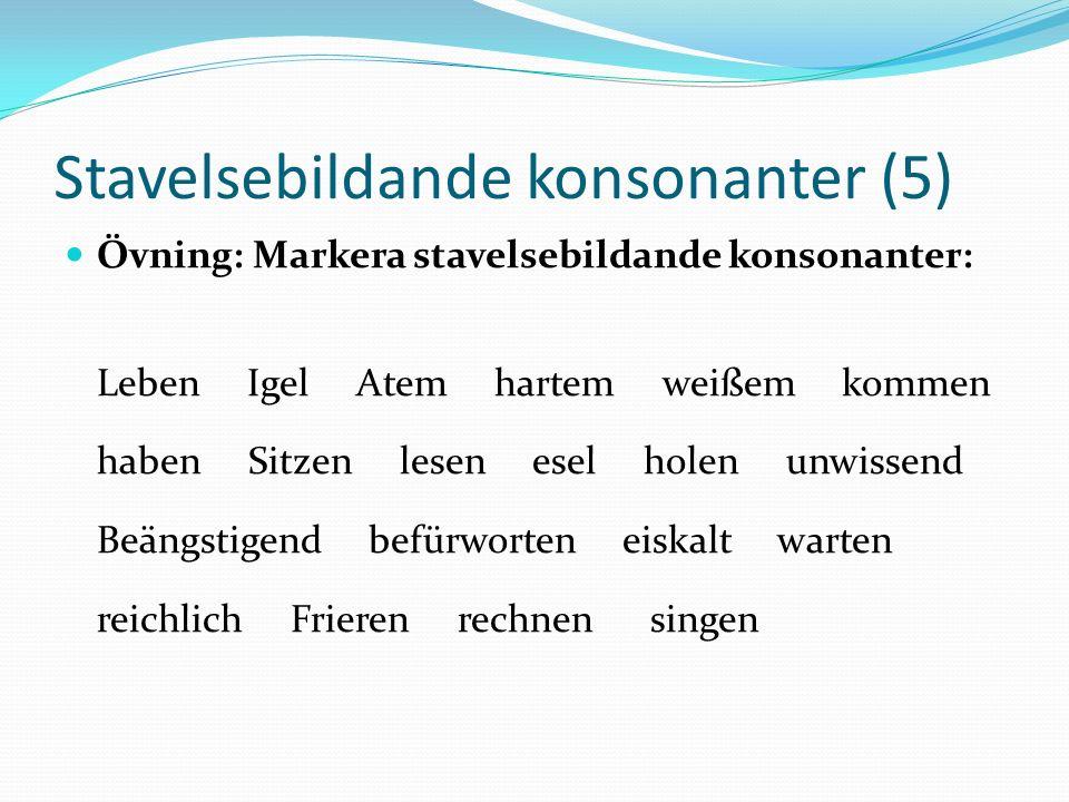 Stavelsebildande konsonanter (5)