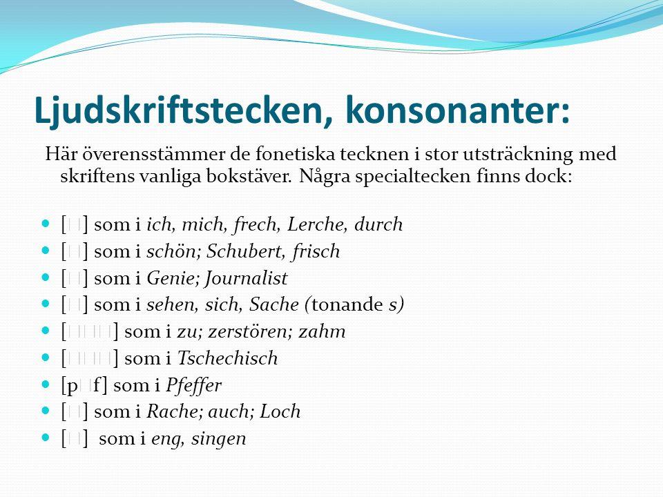 Ljudskriftstecken, konsonanter: